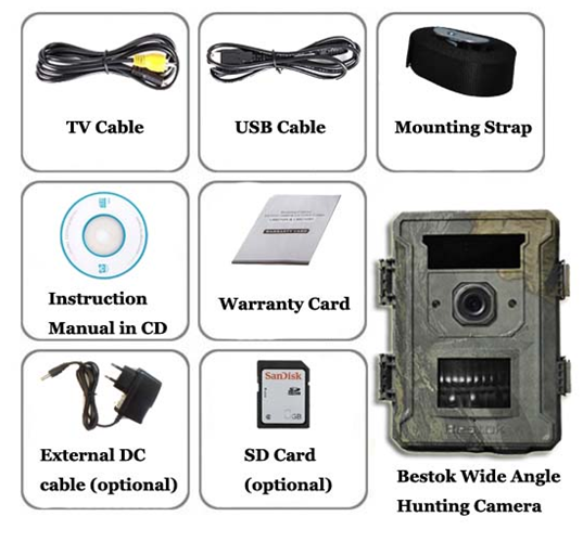 The Package Contents of Bestok 120 Degree Wide View Best 12MP Infrared Scouting Camera