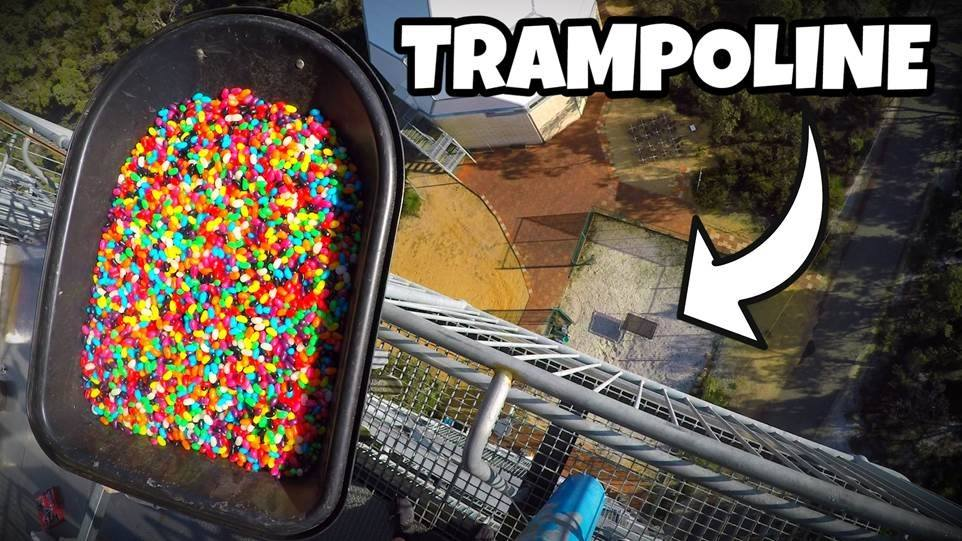 Can you imagine 20,000 jelly bean drop from 45m onto a tramp below. Is it as crazy as it sounds. Check out