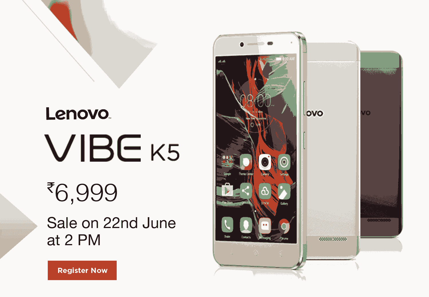 Lenovo VIBE K5 exclusive sale on Amazon.in starting June 22 and registrations for the sale are open on Amazon India.