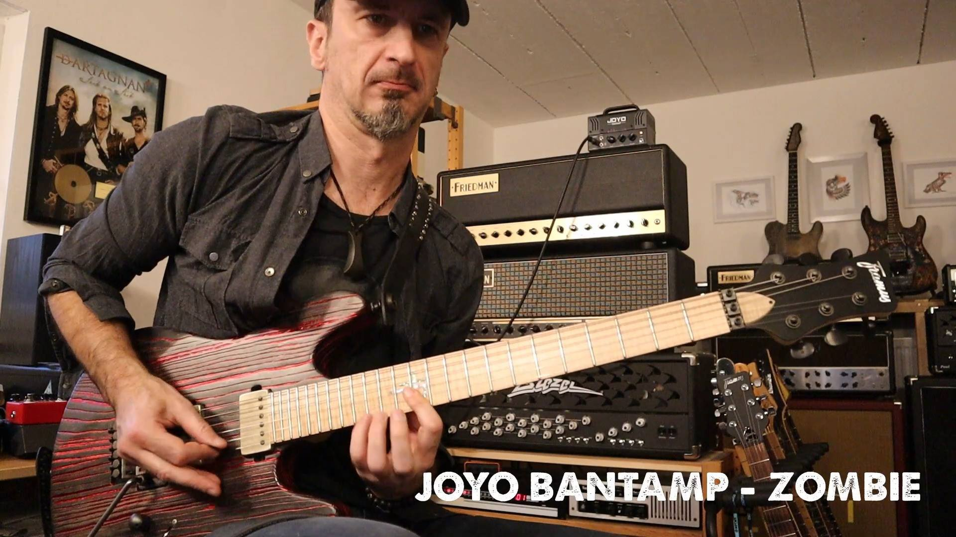 Joyo artist Hans Platz shredding with Bantamp Zombie, that launch box sitting on the top.