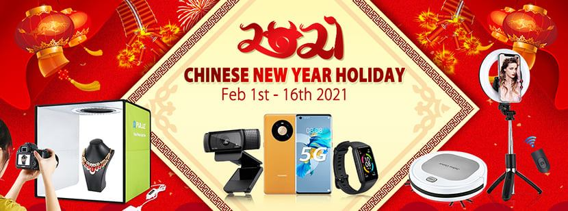 Dear Clients, We are here to inform that our PULUZ company is having CNY holiday from Feb 1st -16th, 2021. Any orders or question please feel free to contact us, we will go back to you asap. Wish a happy new year.... Best Regards